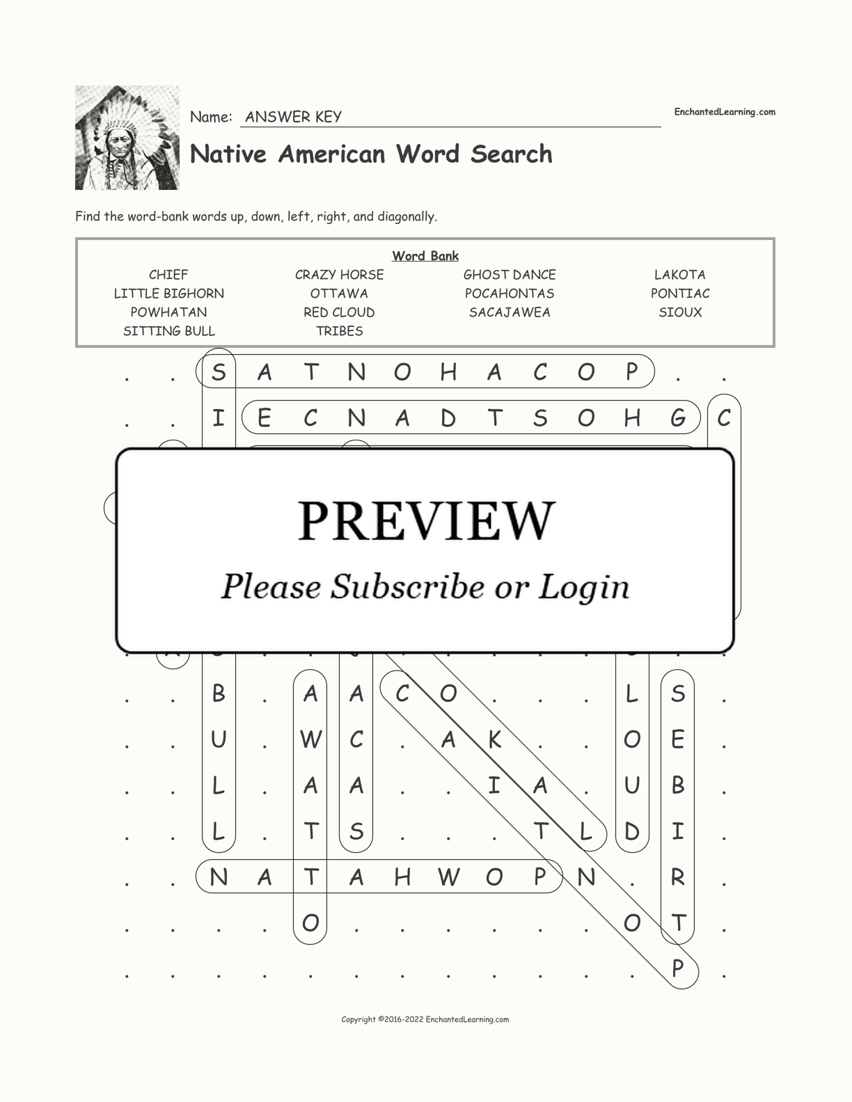 Native American Word Search