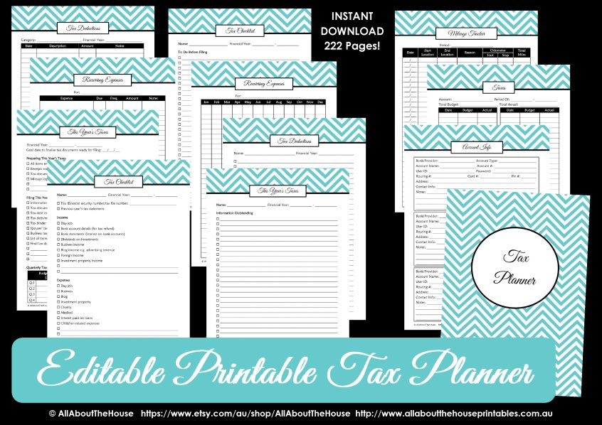 Tax Planner printable organizer tax deductions checklist editable fillable pdf small business blogging reciepts