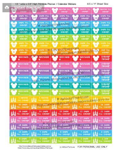 disney stickers, countdown to disney vacation planner stickers, printable planner stickers, rainbow, all about the house