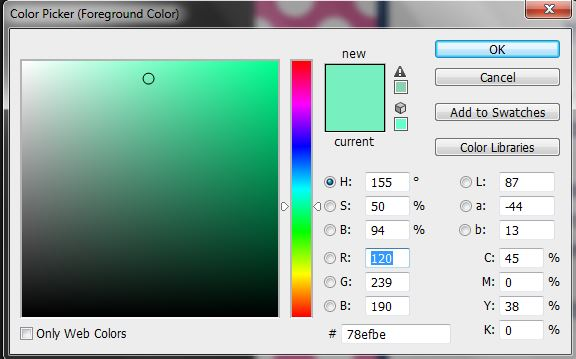 color picker tool in photoshop, swatches menu, custom color, change color, foreground, background, ombre, ecourse, how to make repeating patterns