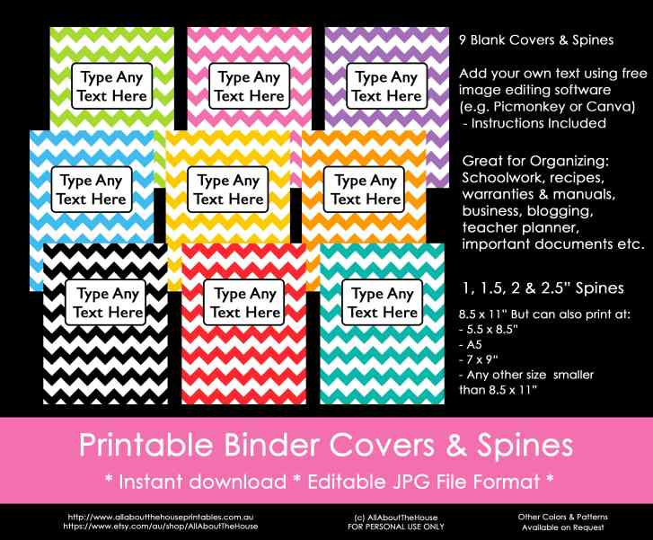 rainbow binder covers, chevron, school, binder insert, editable, spine, planner cover, planner accessories, printable, household binder, organize-min