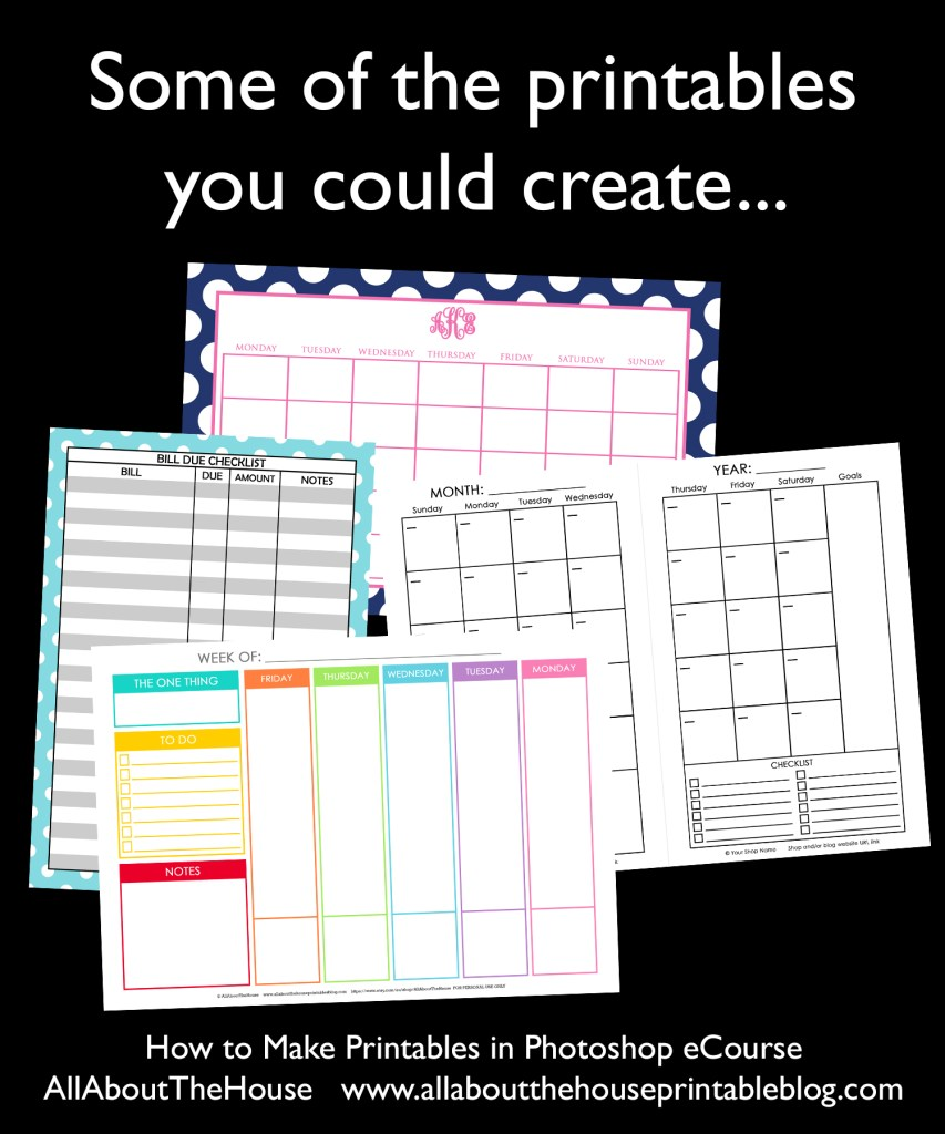 how to make printables in photoshop ecourse diy planner inserts custom planner personalised agenda daily organizer weekly monthly