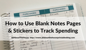 How to keep track of spending using stickers and blank notes pages of your planner