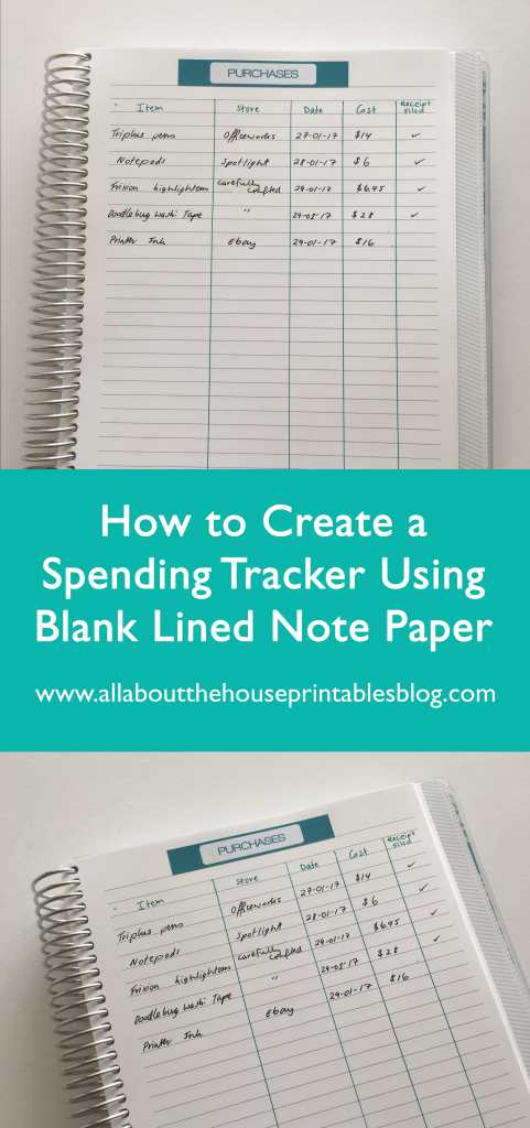 what to do wiith empty notebooks spending tracker purchases online shopping record using blank note paper diy planner stickers printable-min