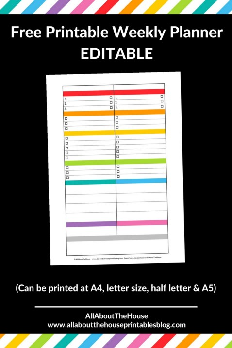 free printable weekly planner rainbow color coded organization editable blog business 1 page checklist goals task insert