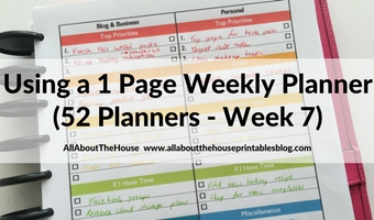 Pros and cons of using a 1 Page Weekly Planner (52 Planners in 52 Weeks – Week 7)
