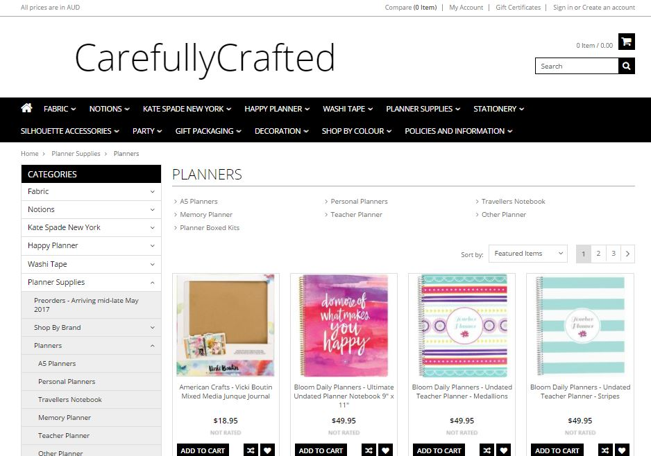 carefully crafted planner supplies australia planner addict bigcommerce review store themes