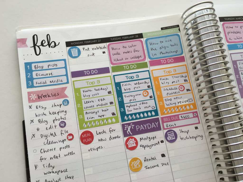 how to set yourself up for a productive week in the erin condren hourly planner review time management planner stickers top 3 weekly spread