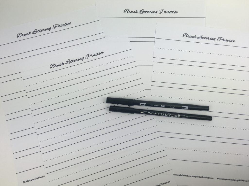 Free Printable Handwriting Practice Calligraphy Brush Lettering Paper  Template Diy Printable Lined Uppercase Lowercase Beginner
