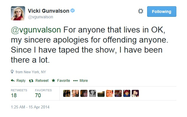 vicki tweet OK apologizes