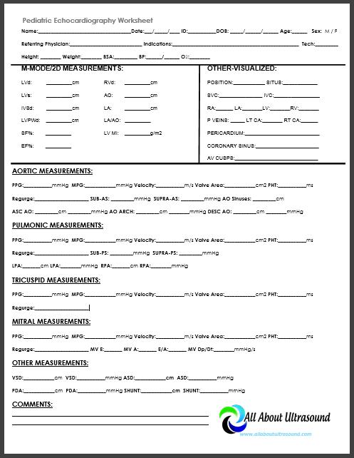 Abdominal Vascular Ultrasound Worksheet
