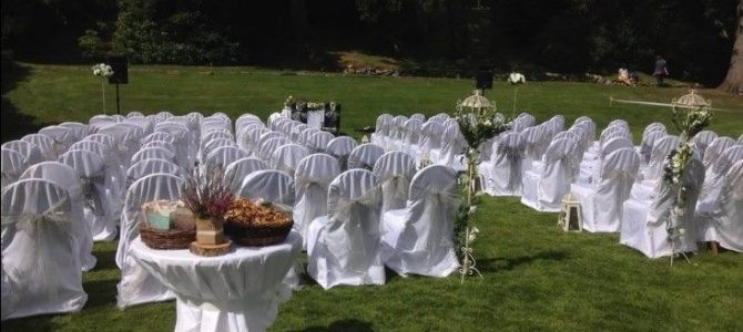 Outdoor wedding ceremony at Glendalough Hotel, Co. Wicklow