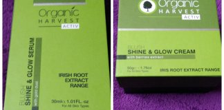 Organic Harvest Blush Activ Range, Shine & Glow serum and cream