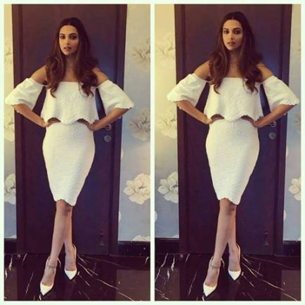 Deepika Padukone in a cold shoulder dress