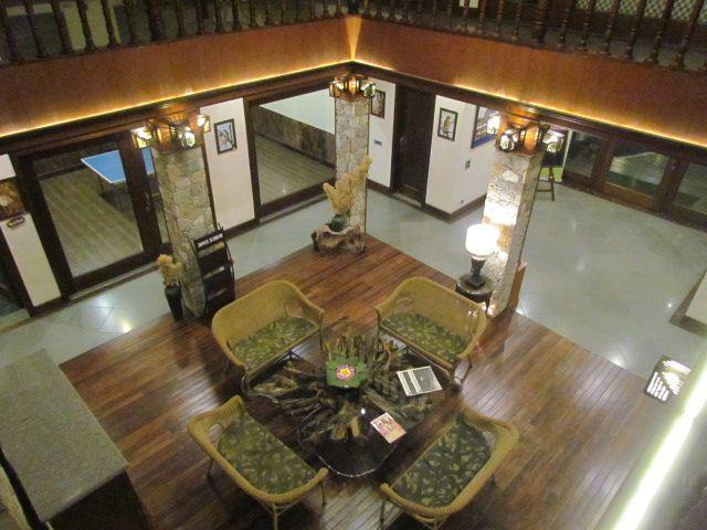 The grand reception area at Aahana, Jim Corbett