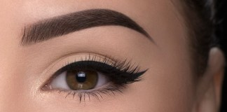 Nude liner and thick brows
