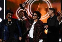 Bruno Mars won Album, Record and Song of the Year