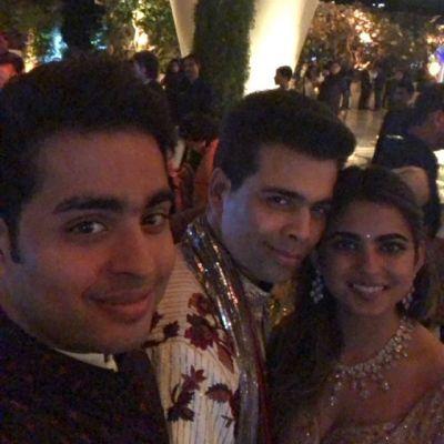 Karan Johar at Isha Ambani's engagement bash