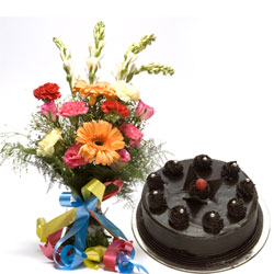 Flowers and cake