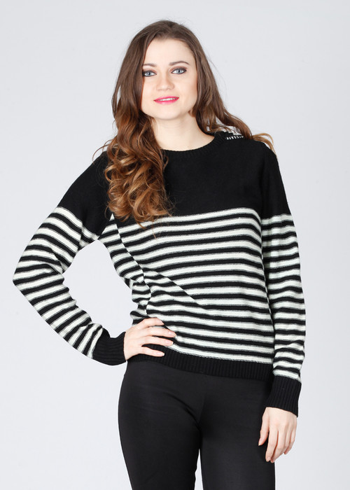 Pepe Striped Round Neck Casual Women's Sweater