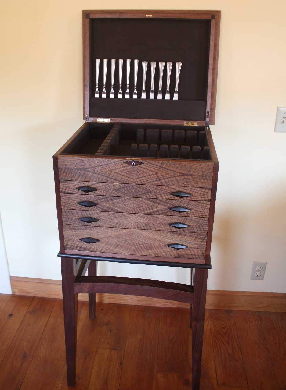 custom made walnut floorstanding silverware chest on a stand