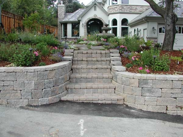 Retaining Walls Build Front Yard Landscapes | Front Yard Stairs Design | Entry | Uphill | Step | Residential | Main Door Stair
