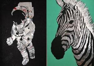 large zebra and astronaut metal wall art
