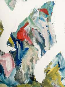 close up of red,blue and pale pink abstract painting brush strokes on modern canvas art