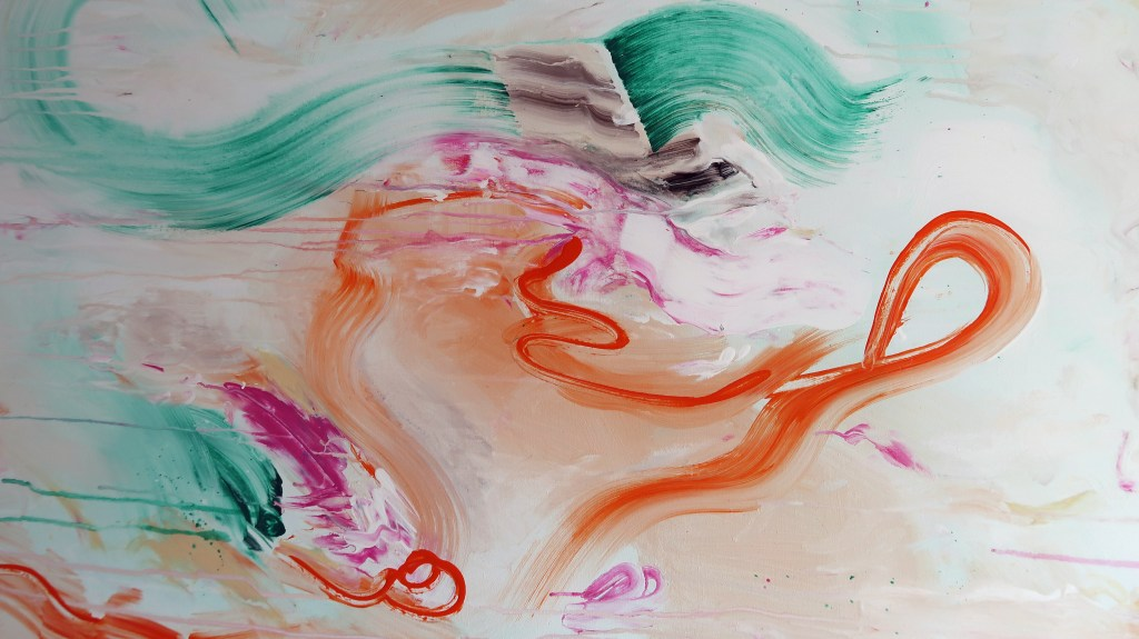 high detailed orange,green and pink painted on a white abstract art canvas