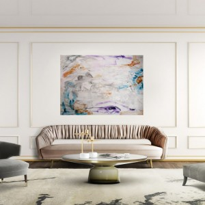 luxury livingroom with blue, orange and purple abstract painting on the wall