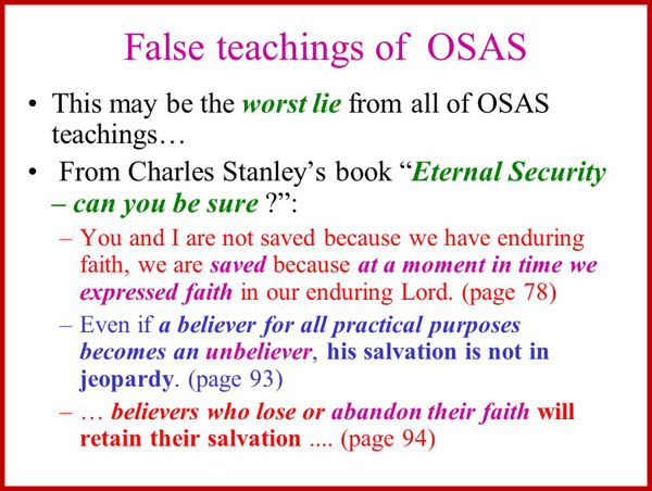 Once saved, always saved doctrine