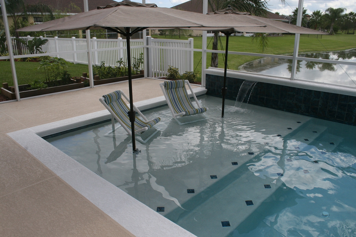 Modern Pool with Sun Shelf  All Aqua Pools