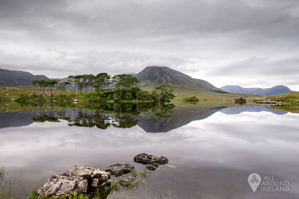Perfect reflections at Pine Island, Derryclare Lough