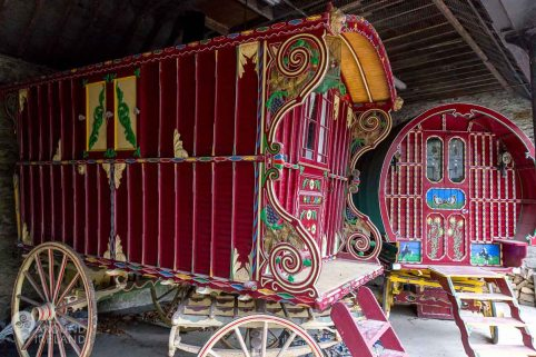 Beautiful carriages in the stables
