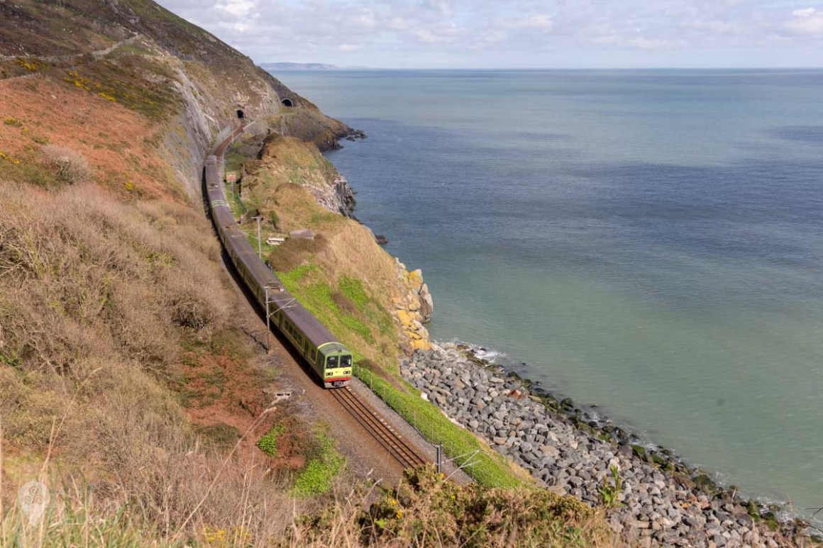 The DART train winding its way along the Bray to Greystones cliff walk trail