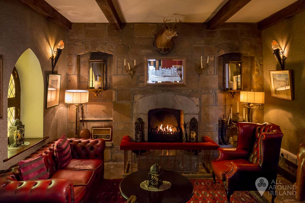 Cozy fireplace near reception