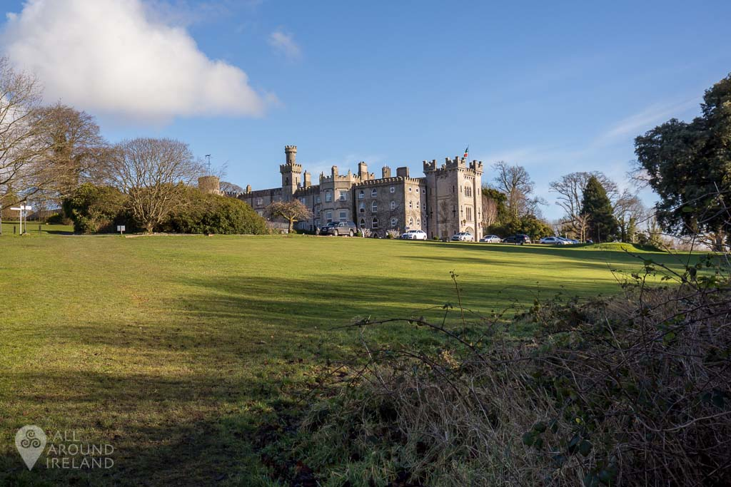 Cabra Castle viewed from nearby wooded area