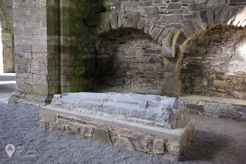 Sculptured tomb at Jerpoint Abbey in Kilkenny, Ireland.