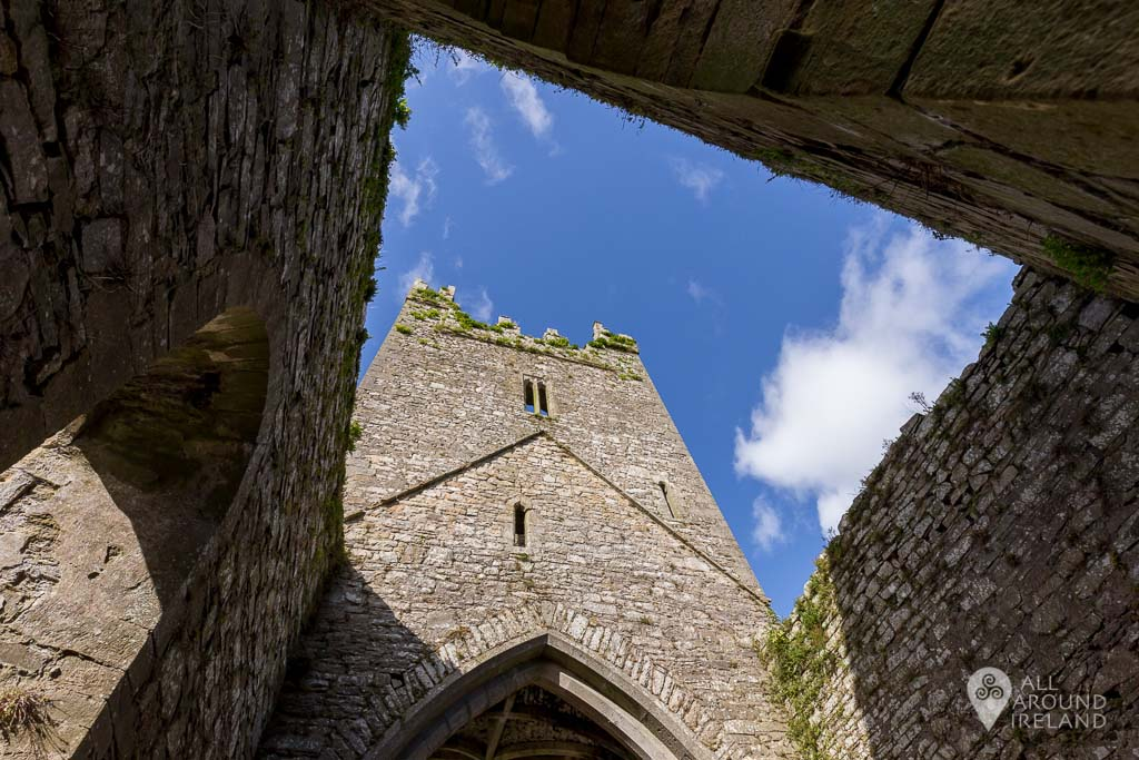 Looking up at the tower at Jerpoint Abbey in Kilkenny, Ireland.