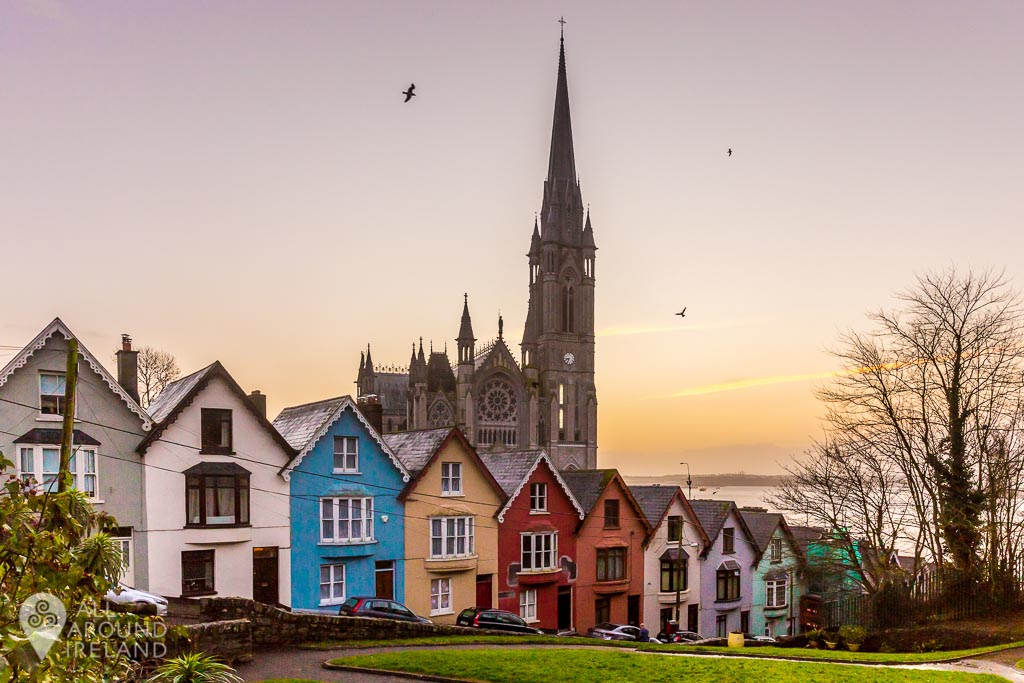 The Deck of Card houses with Cobh Cathedral in the background.