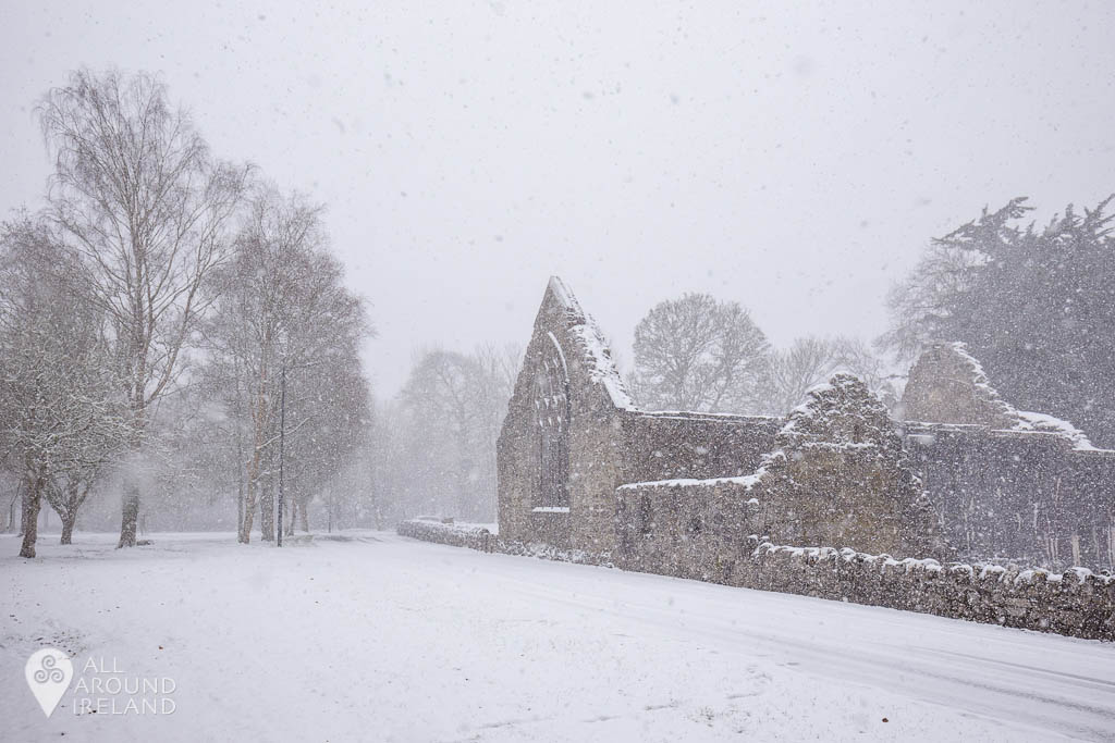 Snow falling over the ruins of the Abbey