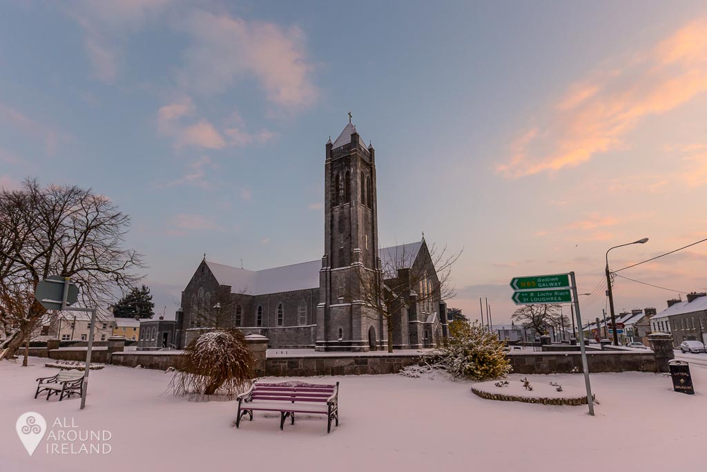 Snow surrounds St Bridgid's Church
