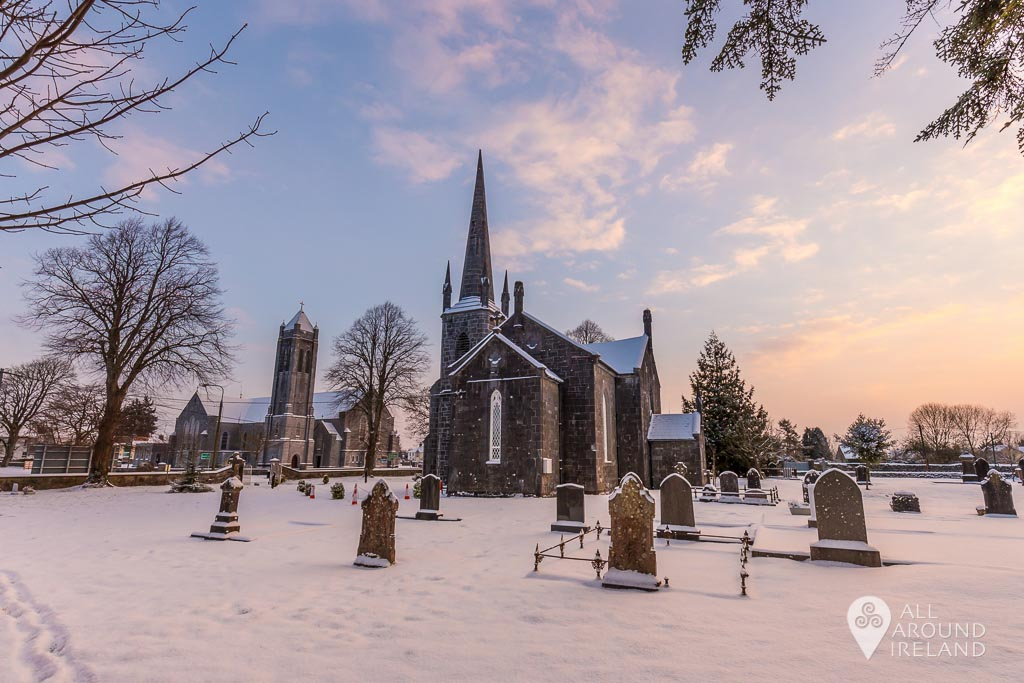 A blanket of snow covers the grounds of Christ Church