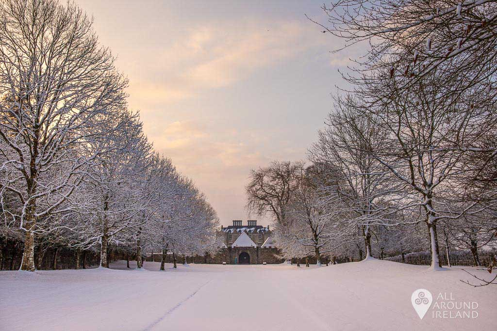 A fresh fall of snow covers the grounds of Portumna Castle