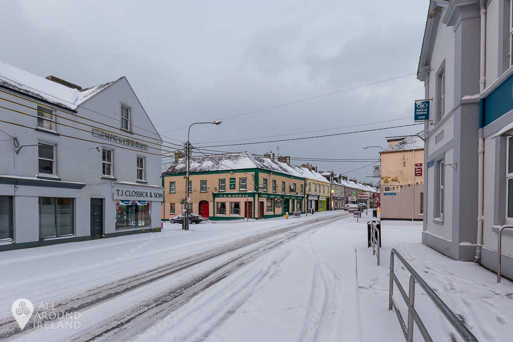 The main junction in Portumna, Galway covered in snow during Storm Emma.