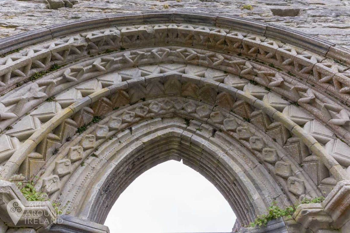 Beautiful stonework on a doorway of Cong Abbey