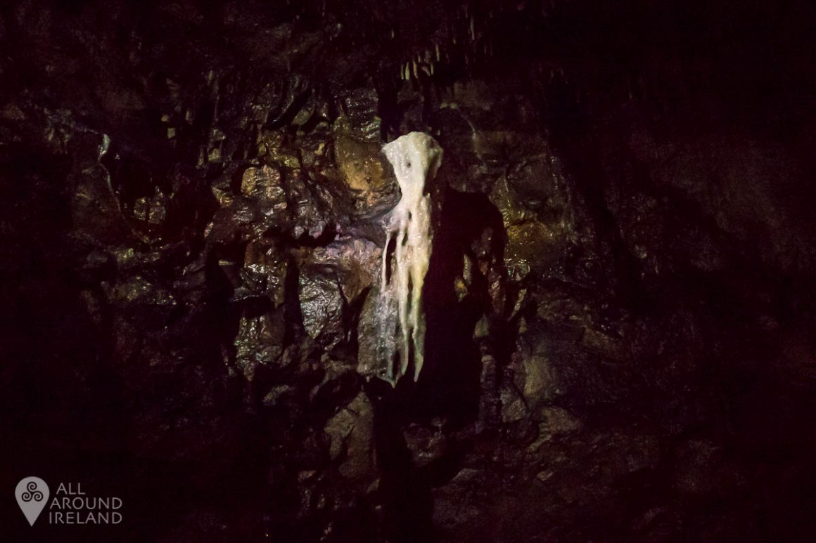 A spooky looking calcite formation in the cave