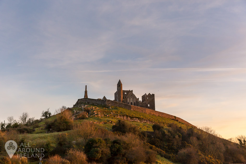 Golden glow over the Rock of Cashel as the sun goes down.