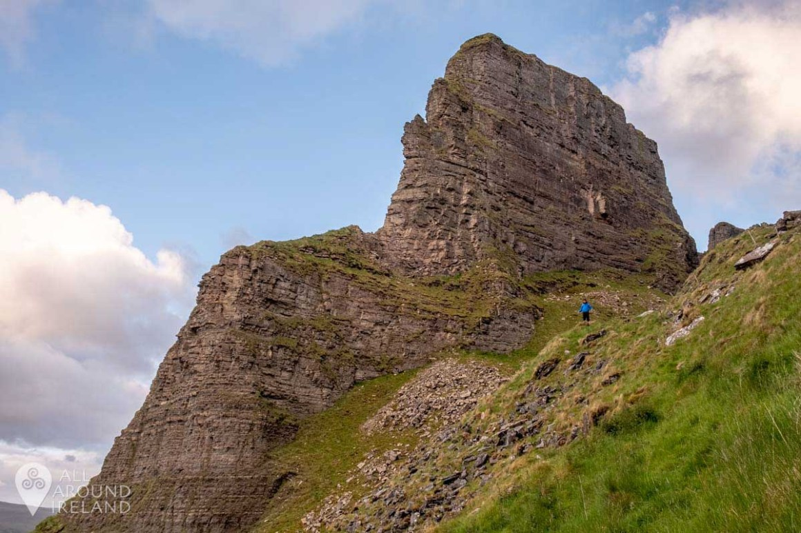 Looking up at Eagle's Rock in Glenade Valley, Leitrim