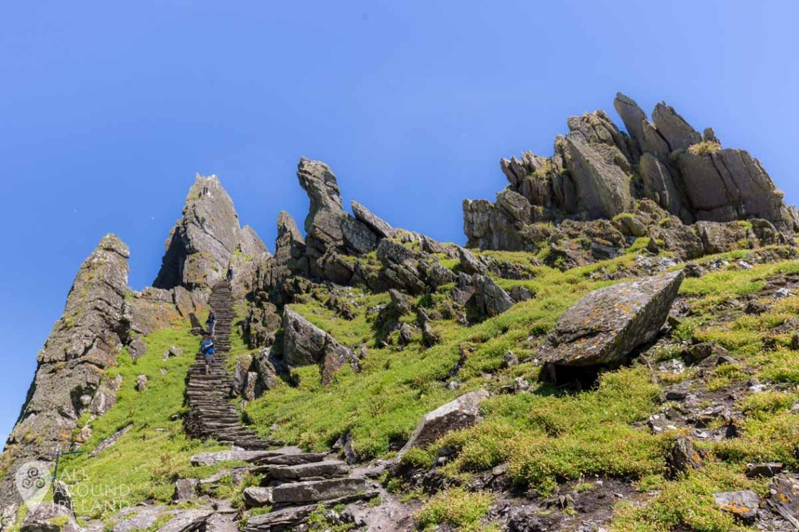 Steep climb to the monastic site from Christ's Saddle on Skellig Michael.
